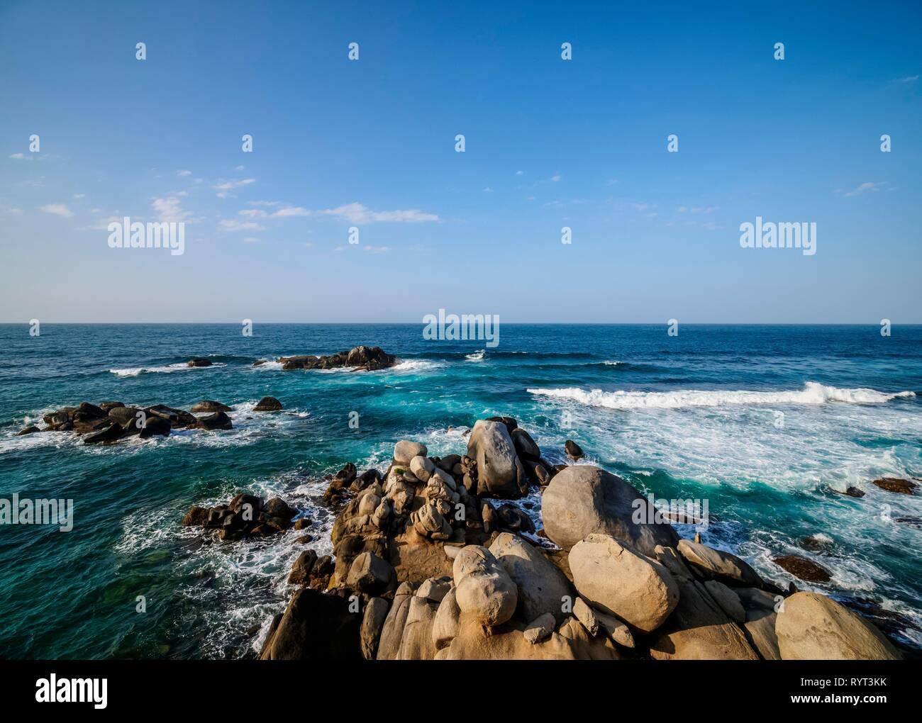 Rocky Coast at El Cabo San Juan del Guia, Tayrona National Natural Park, Magdalena Department, Caribbean, Colombia - Stock Image