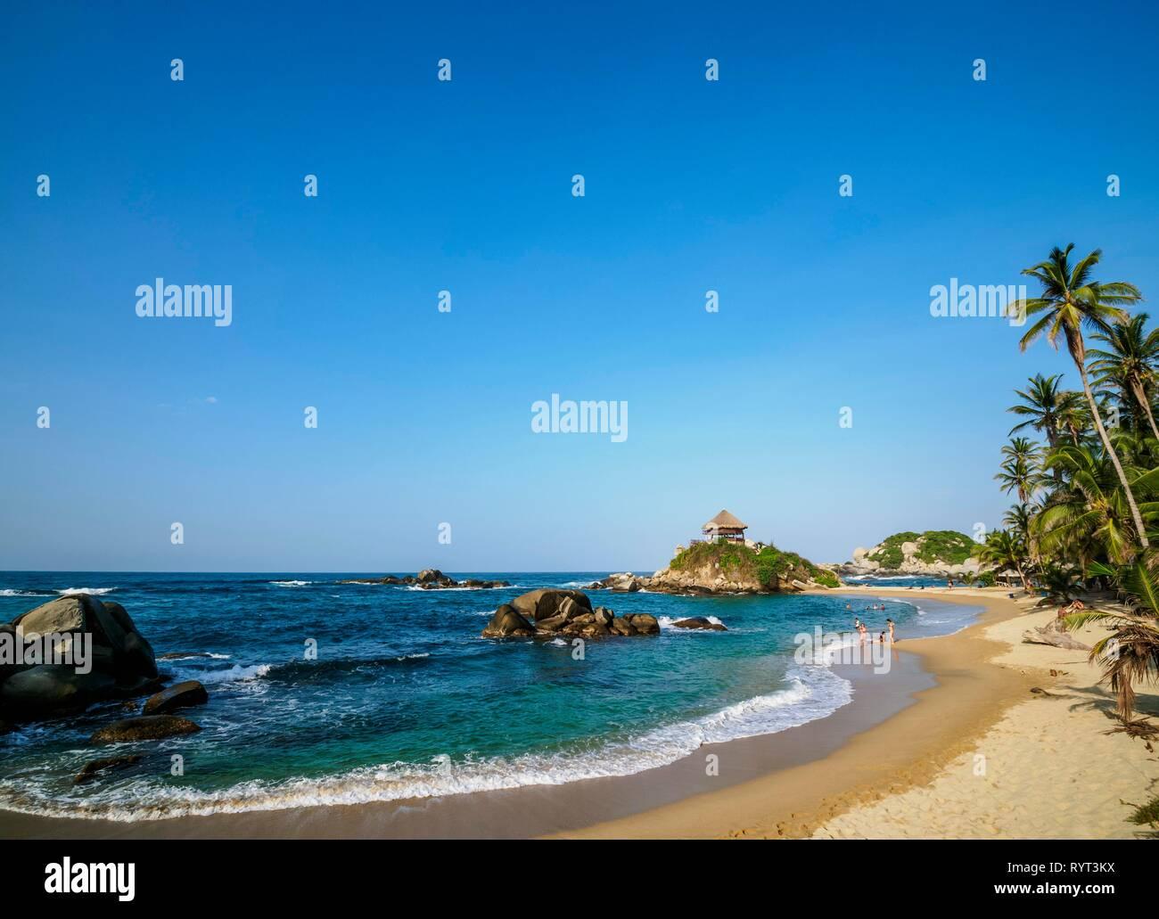 Palm beach, El Cabo San Juan del Guia beach, Tayrona National Natural Park, Magdalena Department, Caribbean, Colombia - Stock Image