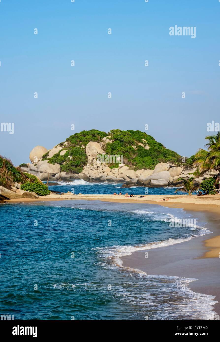El Cabo San Juan del Guia beach, Tayrona National Natural Park, Magdalena Department, Caribbean, Colombia - Stock Image