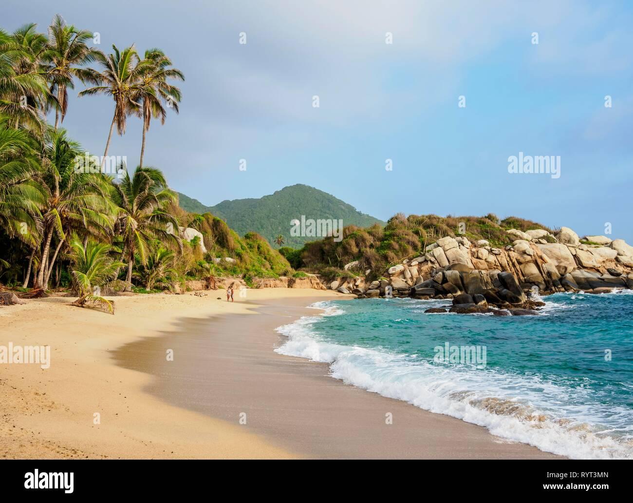 Sandy beach El Cabo San Juan del Guia Tayrona National Natural Park, Magdalena Department, Caribbean, Colombia - Stock Image