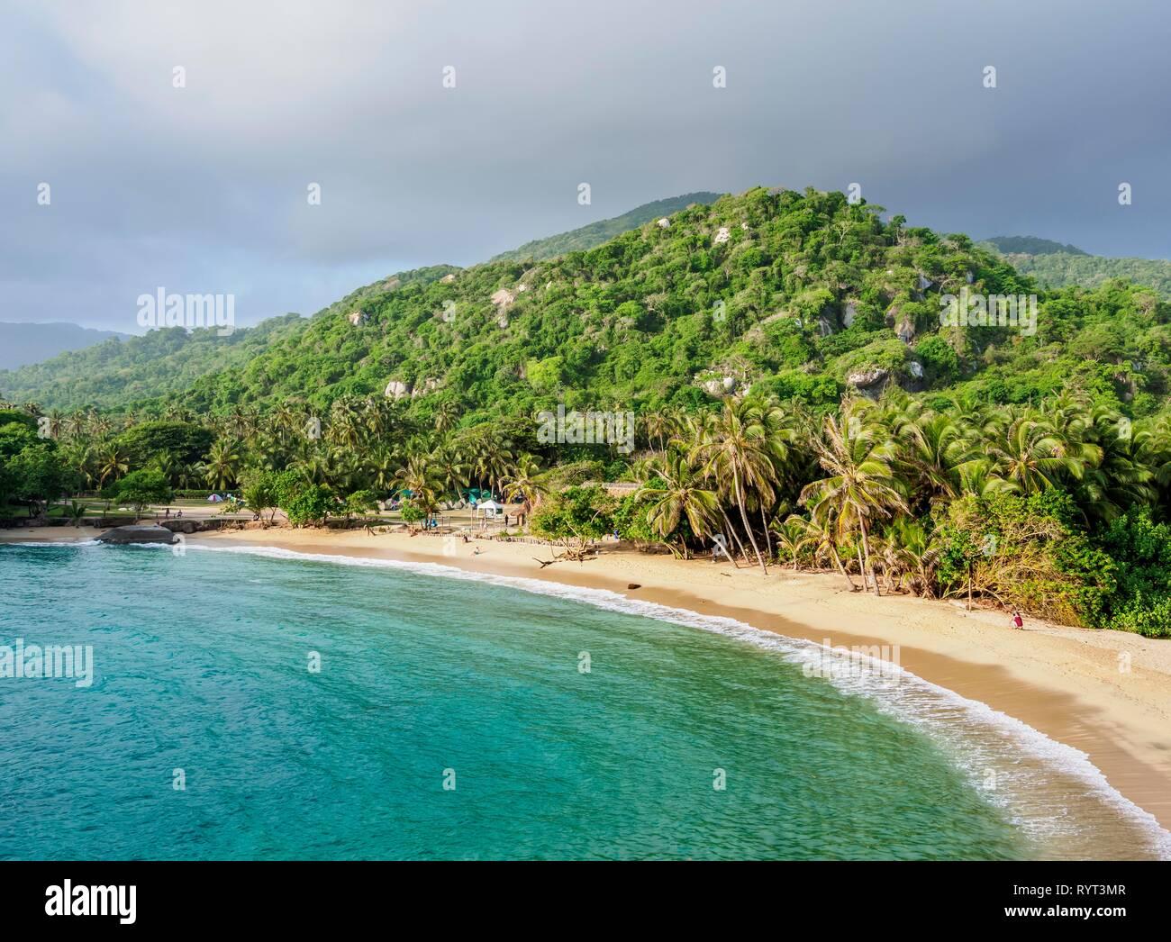 Bay, El Cabo San Juan del Guia sandy beach, Tayrona National Natural Park, Magdalena Department, Caribbean, Colombia - Stock Image