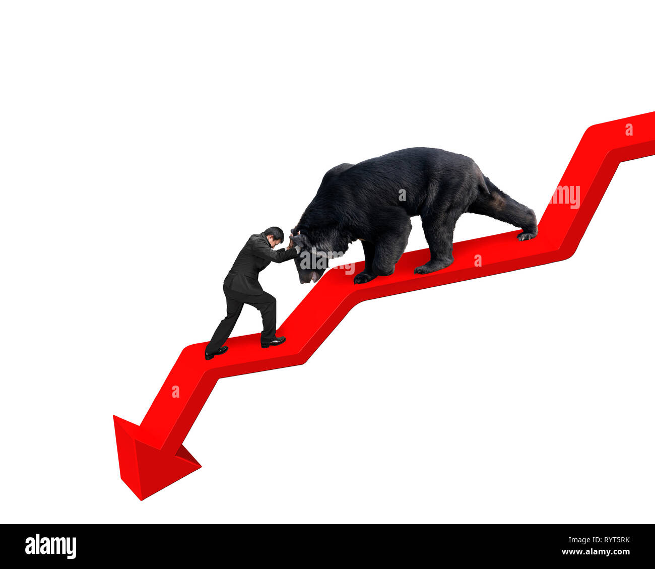 Businessman against black bear on red arrow downward trend line with white background. Fight back bearish market concept. - Stock Image
