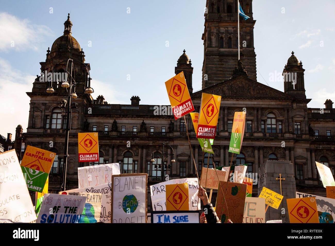 Glasgow, Scotland, UK. 15th Mar, 2019. climate change protest glasgow Credit: john cruttenden/Alamy Live News Stock Photo