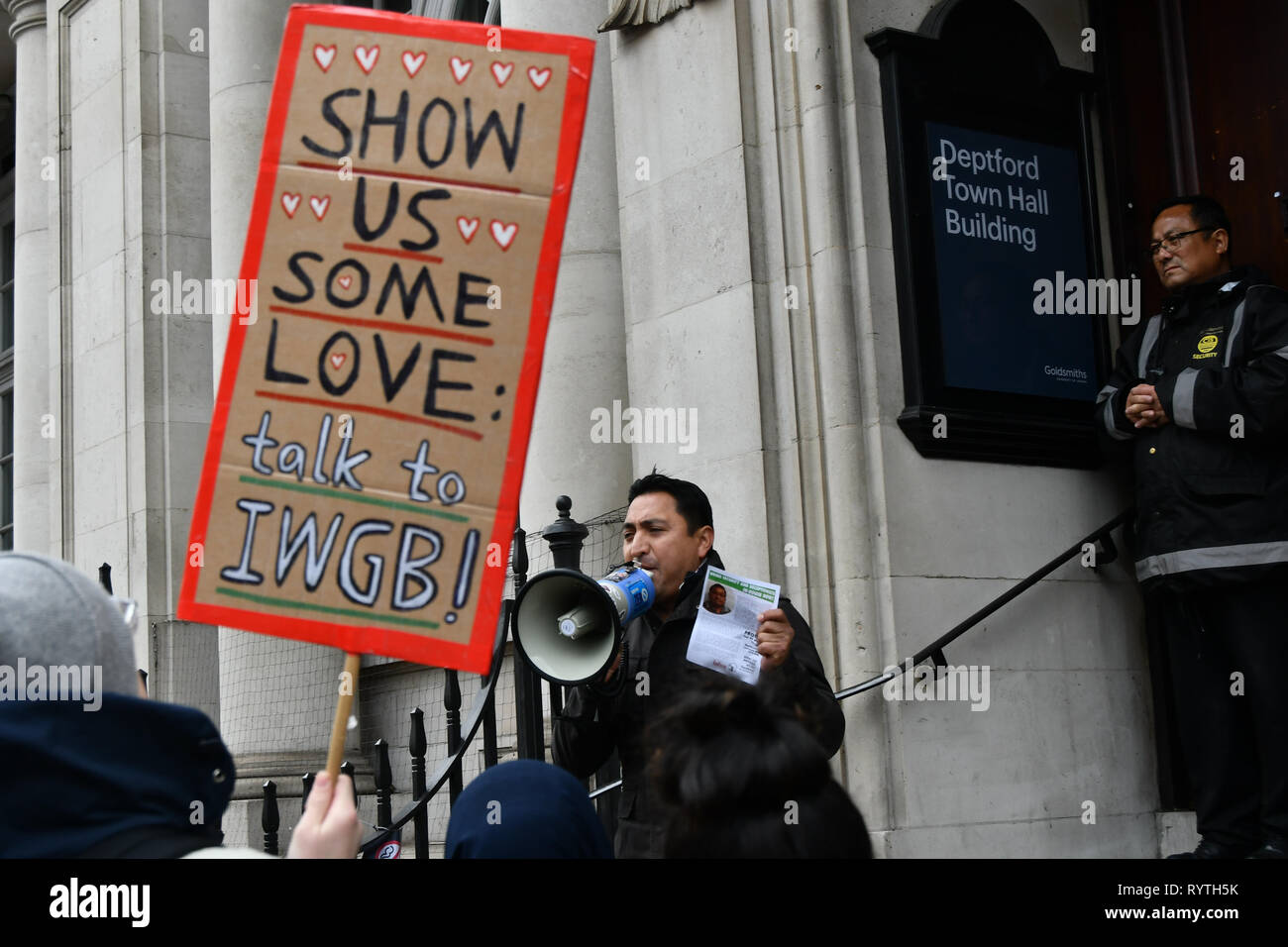 London, UK. 15th Mar 2019. Protesters of Goldsmiths Anti-Racist Action take action occupied Deptford Town Hall building, Education Officer Hamna Imran was attacked at election week, faced racist abuse— with graffiti mocking her accent and her banner being stripped down. Shame on the UK demon-cracy racism year in year oppresses of all minority. Credit: Picture Capital/Alamy Live News - Stock Image