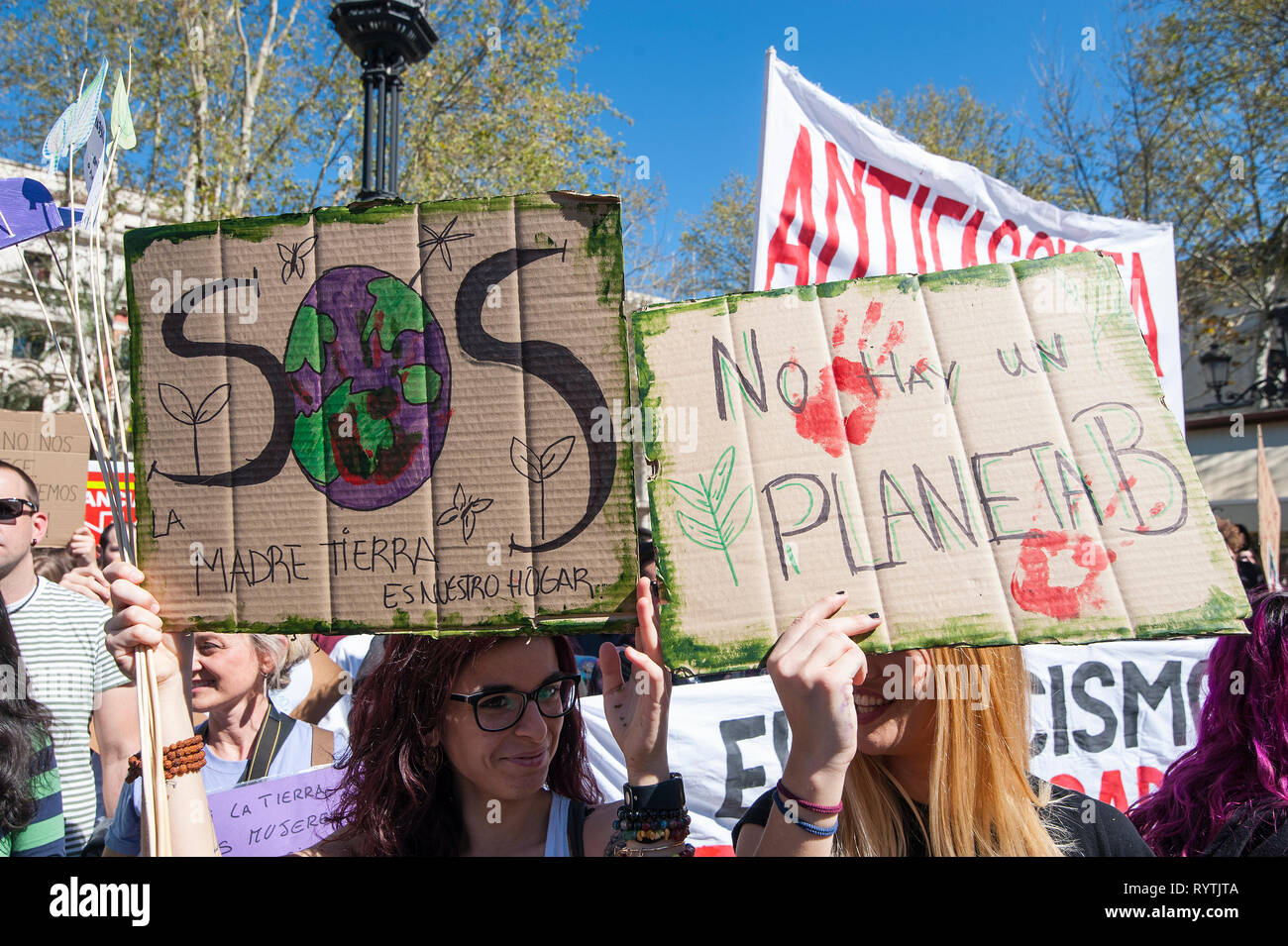 Seville, Spain. 15th Mar 2019. Hundreds of young people took to the street to join the Fridays for Future movement. Demanding that we change politics and save our planet. Worldwide on 16th March 2019 thousands of people marched for better climate policies. Credit: Claudia Wiens/Alamy Live News Stock Photo