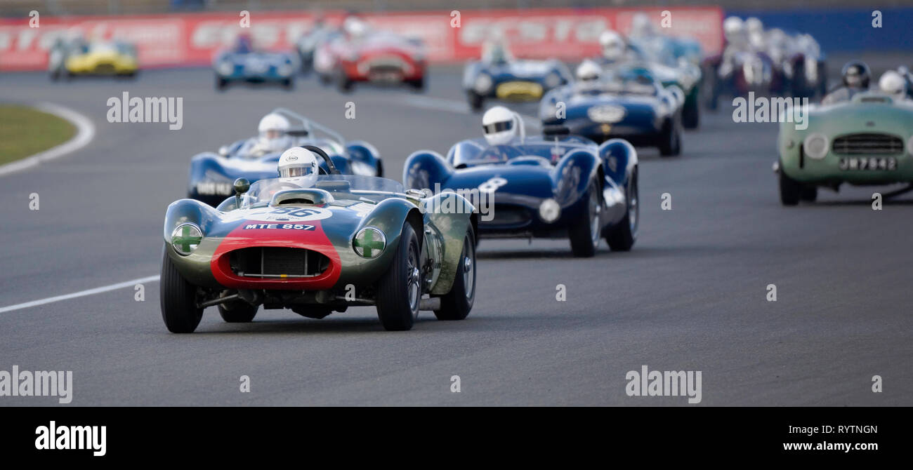 Farrellac leads the field - The Vintage Sports-car Club meet at Silverstone. - Stock Image