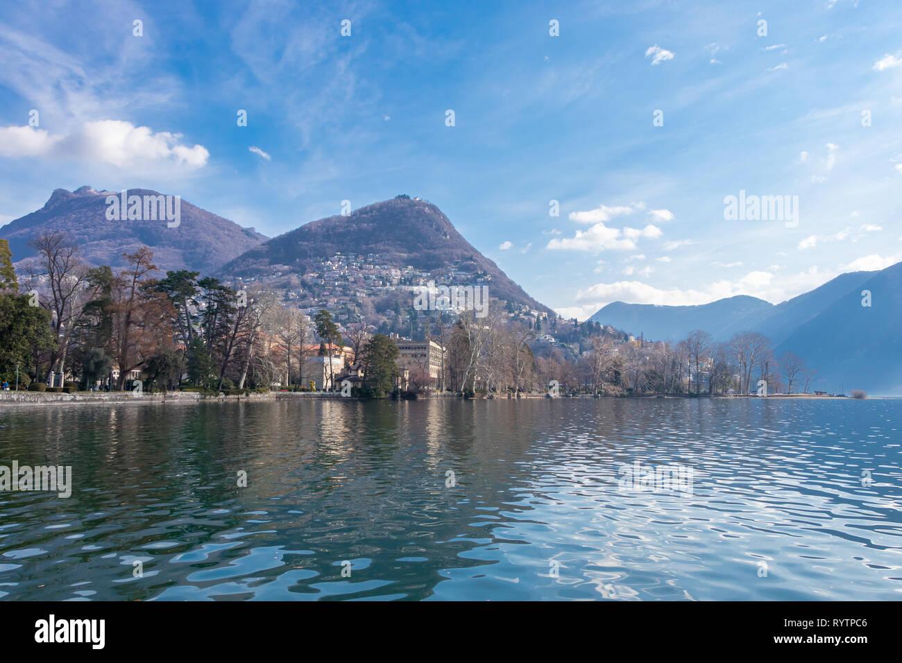 Beautiful view of Lugano lake in March, Switzerland Stock Photo