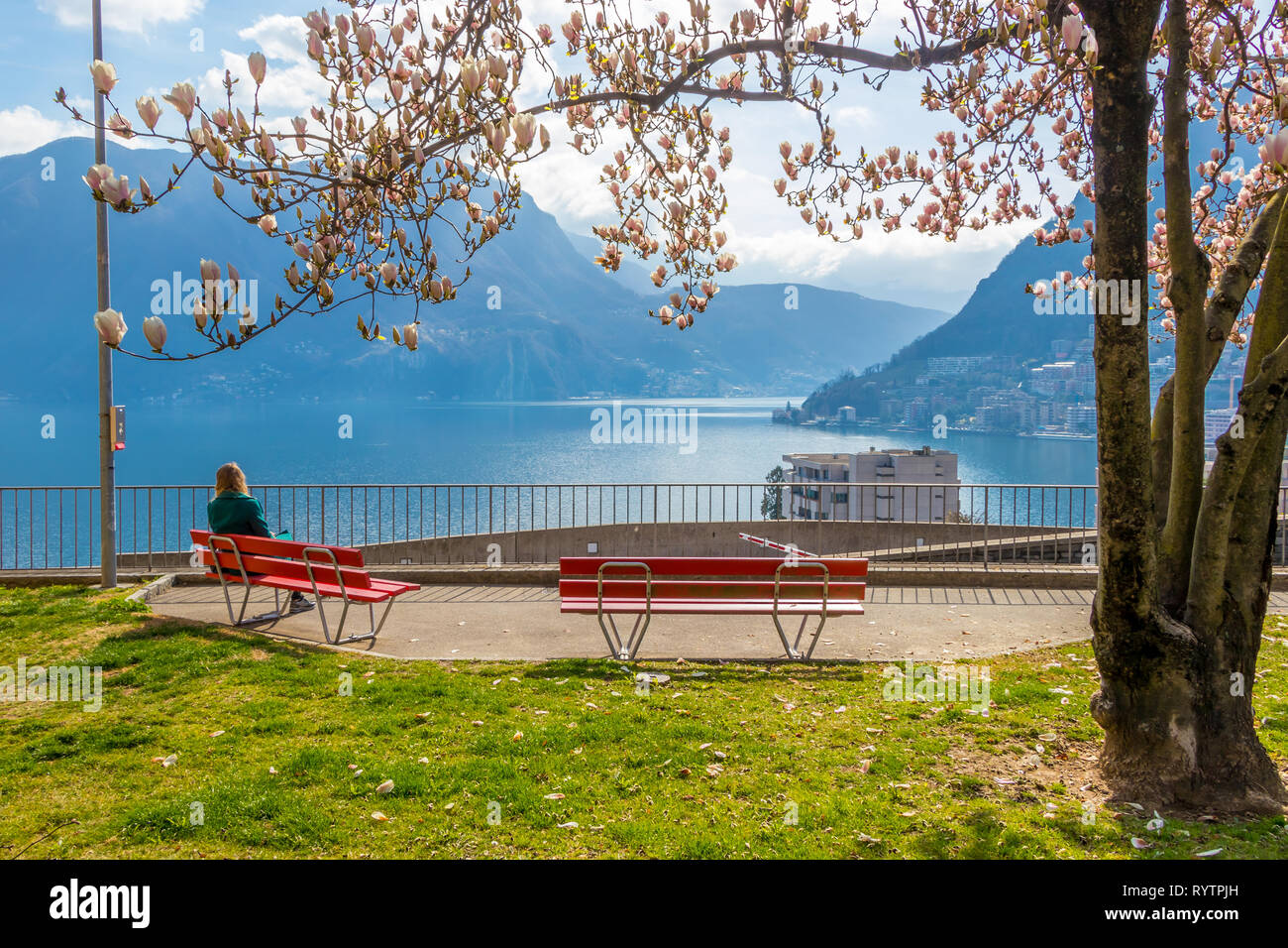 Girl enjoying city view from a bench under the Magnolia tree at the hill in Lugano, view at the Lake Lugano and Alps mountains in Ticino canton of Swi - Stock Image