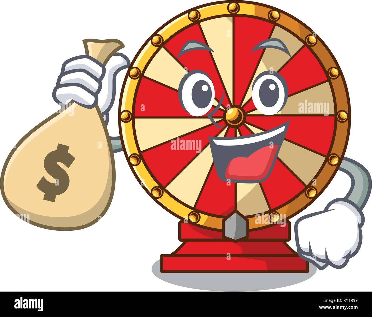 With Money Bag Spinning Wheel Game The Mascot Shape Stock Vector Image Art Alamy