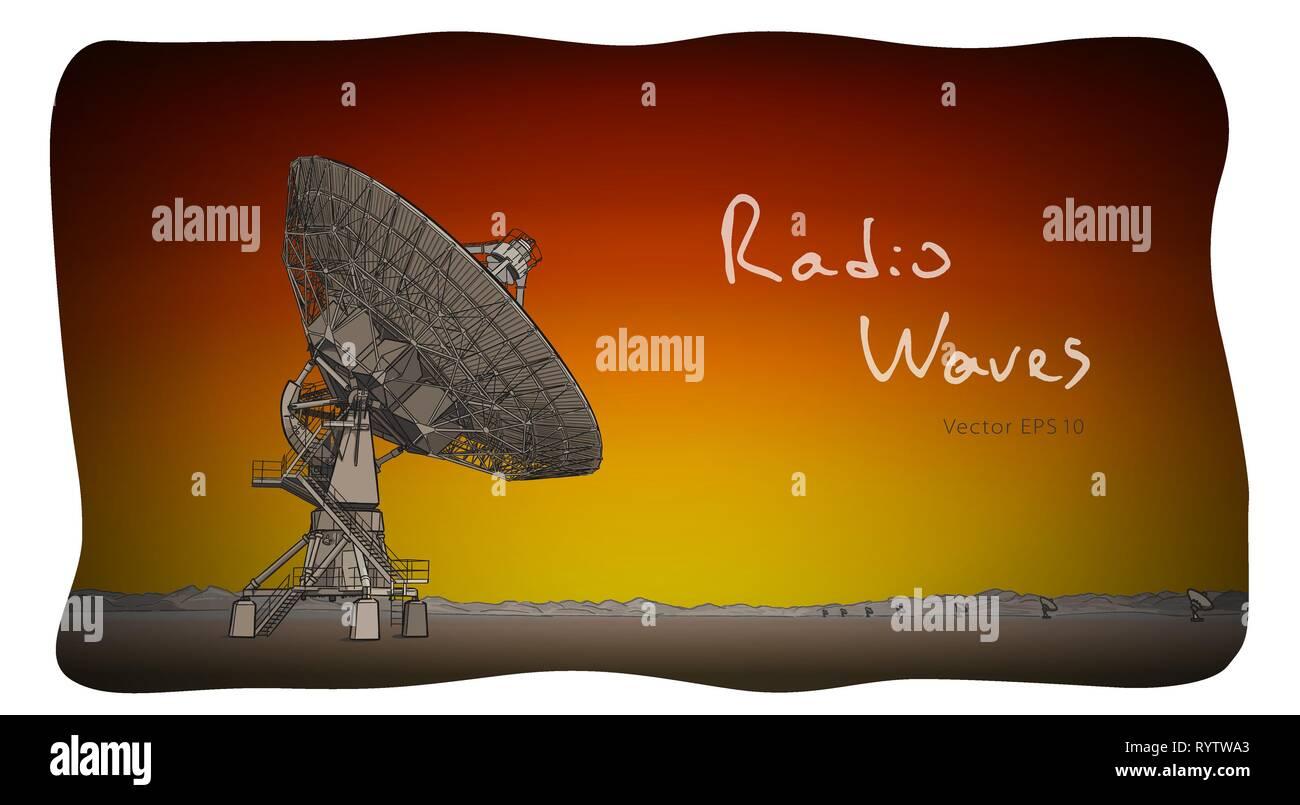Radio telescope dishes antenna. Vector sketch draw Stock Vector