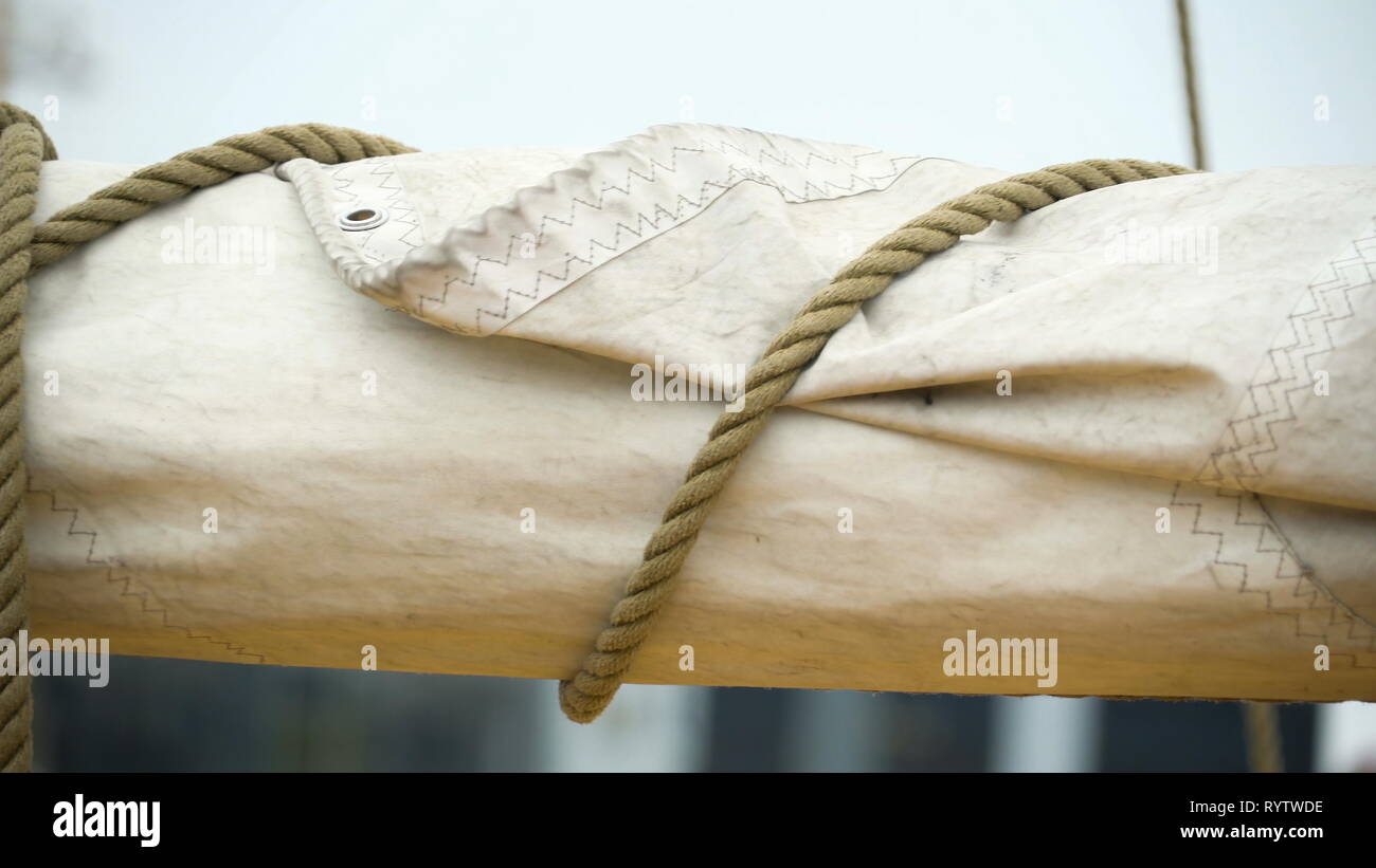 A velum or the big cloth on the ship that helps in sailing in the ocean - Stock Image