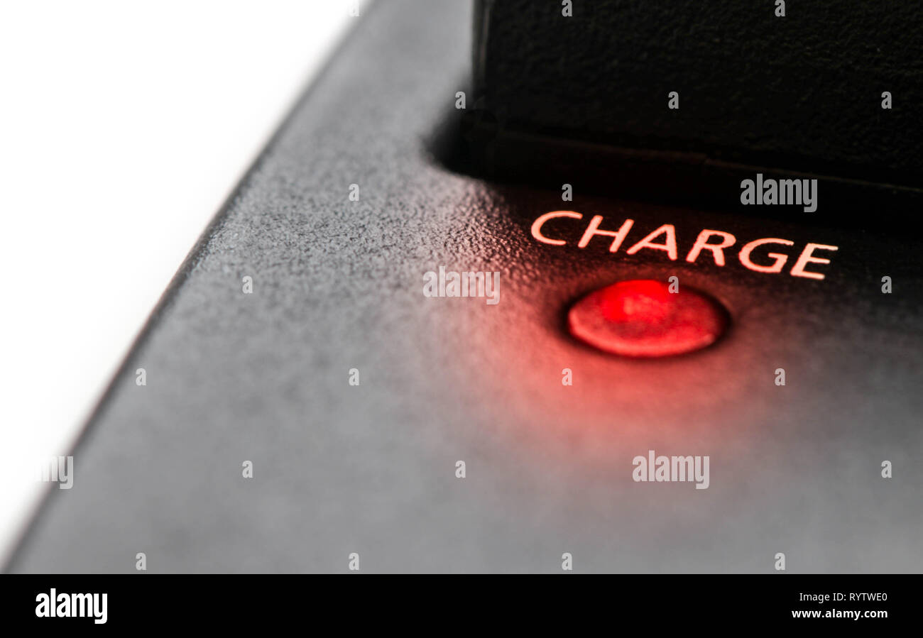 charge power led red light, power recharge boost - Stock Image