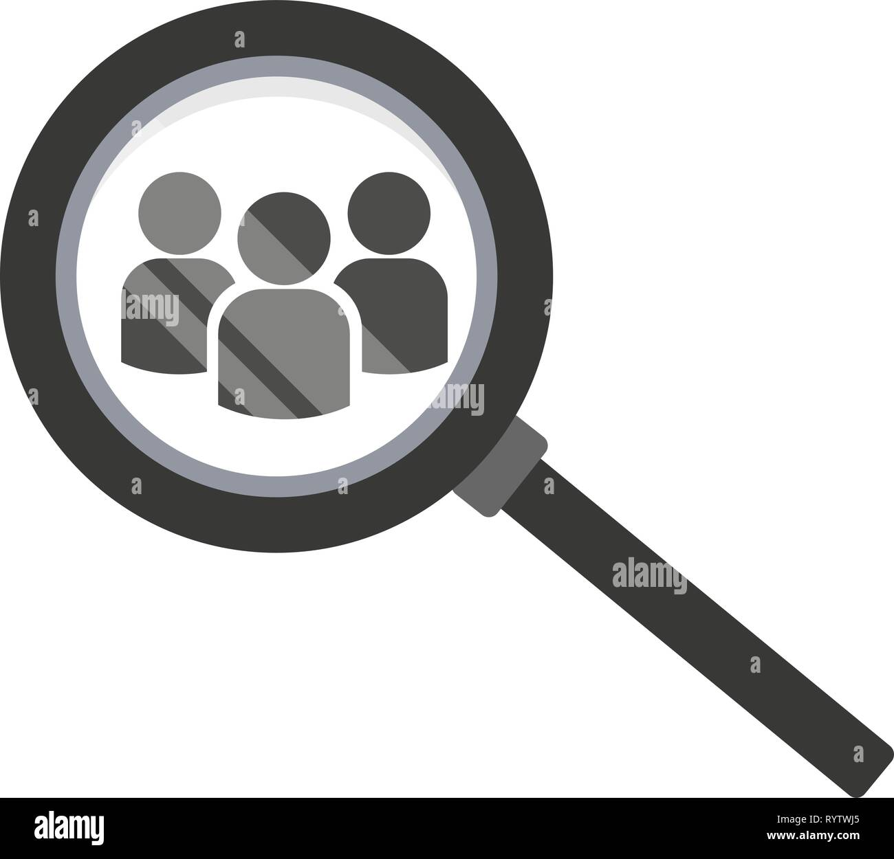 Team search icon. Look at people under a magnifying glass. Vector illustration on white background. - Stock Image