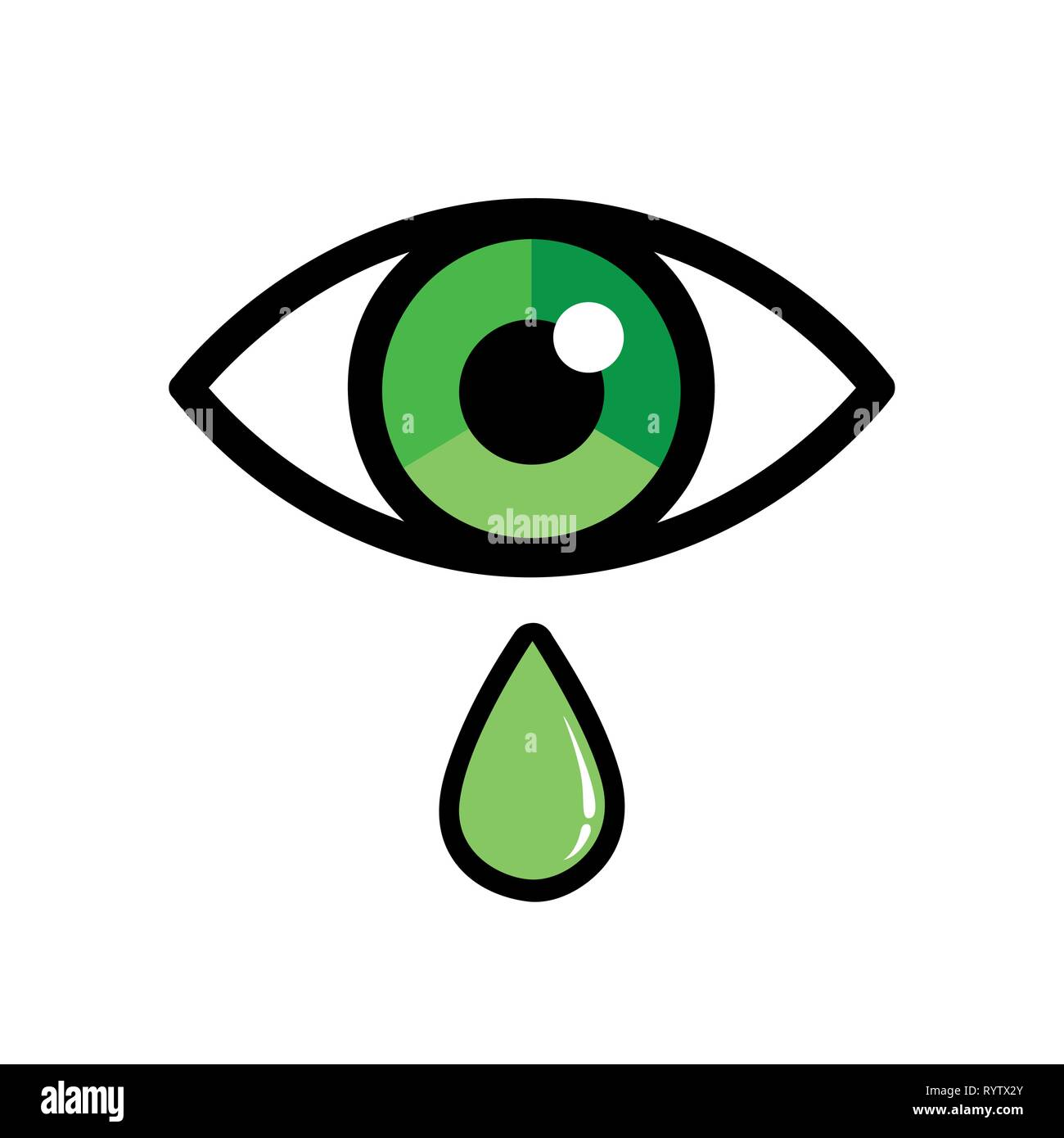 green eye with drop ophthalmology icon isolated on white background vector illustration EPS10 - Stock Image