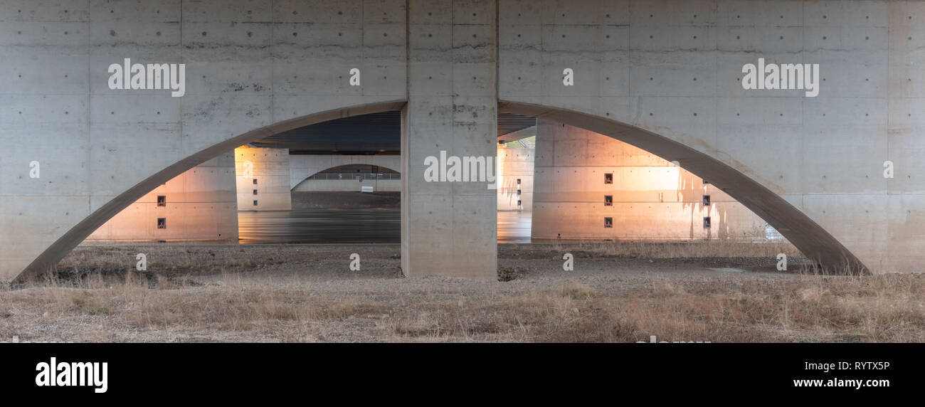 Magdeburg, Germany - March 14, 2019: View of Hohenwarthe trough bridge. This means a bridge where ships can sail. It crosses the river Elbe, Germany. - Stock Image