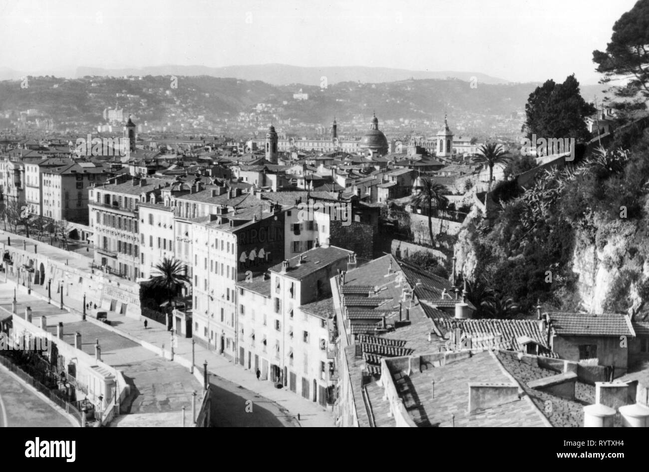 geography / travel, France, Nice, overview, old town, 1950s, Additional-Rights-Clearance-Info-Not-Available - Stock Image
