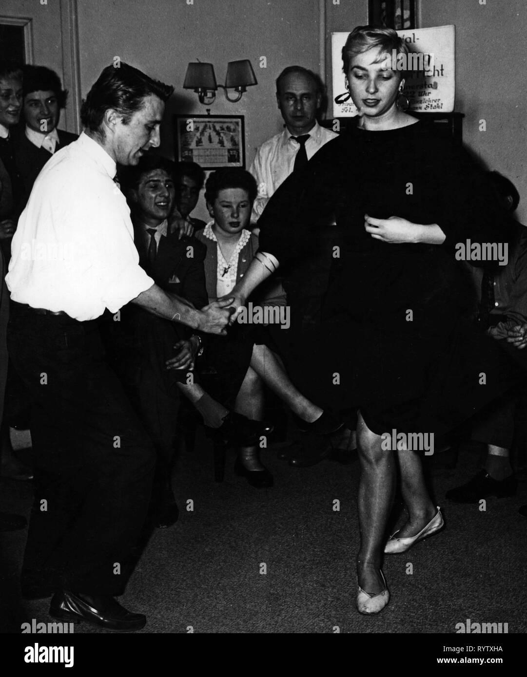 dance, jitterbug, champion 'Stupsi' dancing, Munich, 1958, Additional-Rights-Clearance-Info-Not-Available - Stock Image