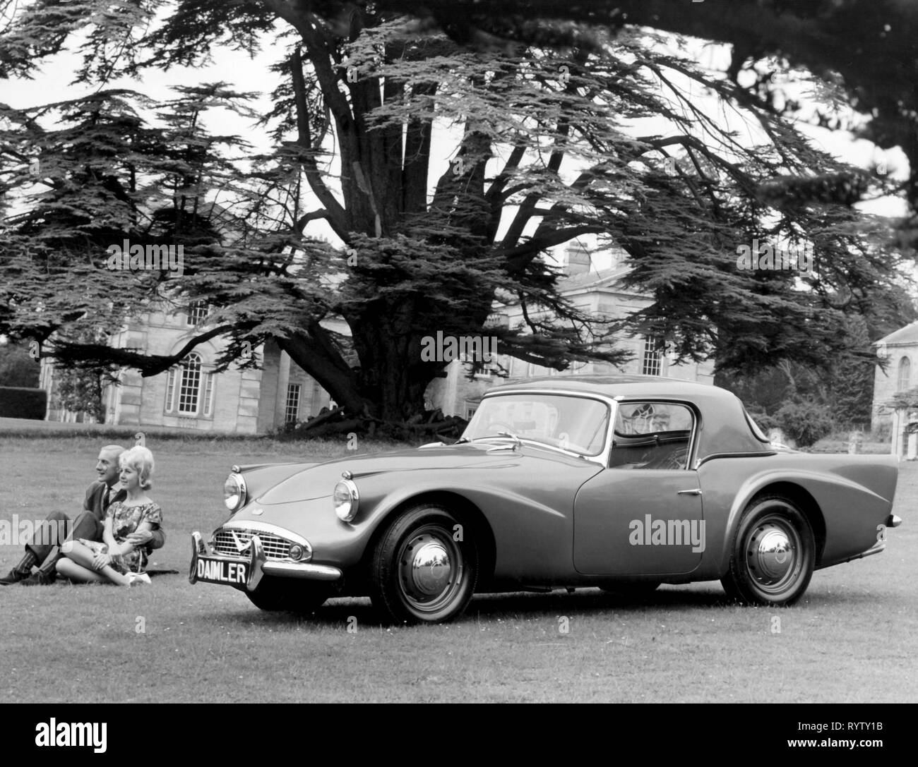 transport / transportation, car, vehicle variants, Daimler SP250, view from left ahead, Great Britain, 1960, SP 250, sports car, sports cars, roadsters, roadster, two-door model, twoseater, United Kingdom, park, parks, motor car, auto, automobile, passenger car, motorcar, motorcars, autos, automobiles, passenger cars, German, clipping, cut out, cut-out, cut-outs, 1960s, 60s, 20th century, people, couple, couples, transport, transportation, car, cars, view, views, historic, historical, Additional-Rights-Clearance-Info-Not-Available - Stock Image