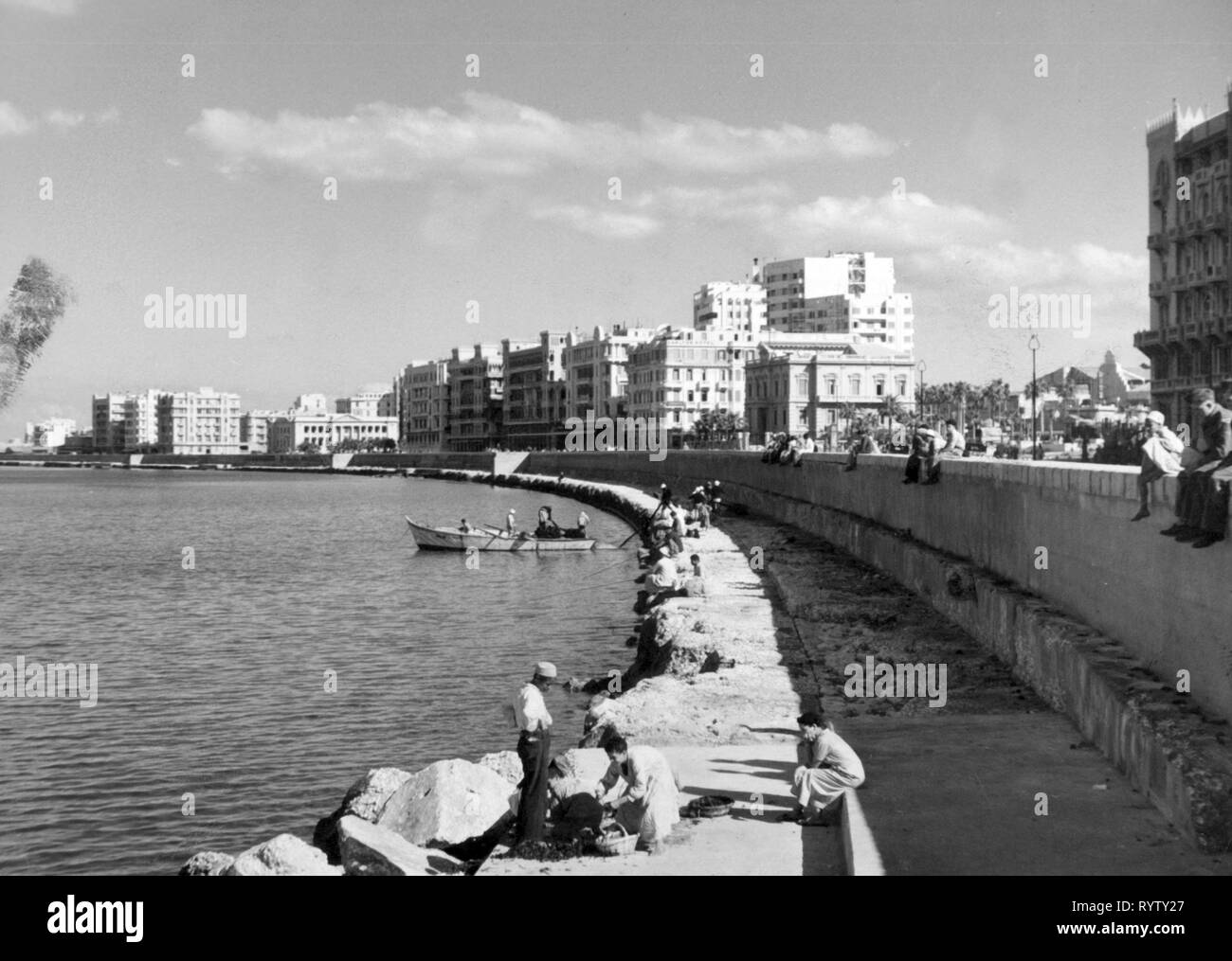 geography / travel historic, Egypt, cities and communities, Alexandria, harbour, view, 1960s, Additional-Rights-Clearance-Info-Not-Available - Stock Image