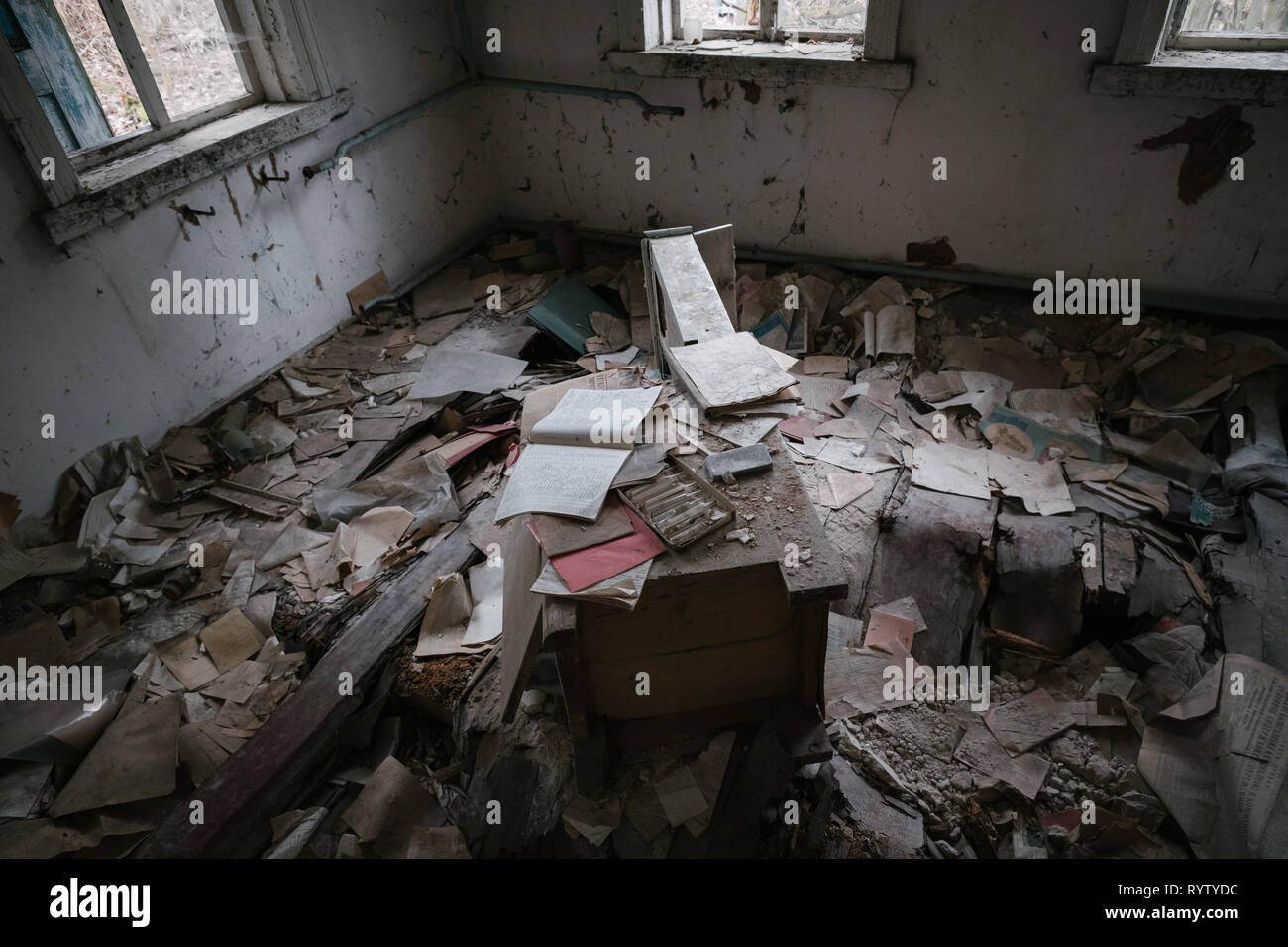 Abandoned village in the Chernobyl nuclear power plant exclusion zone - Stock Image