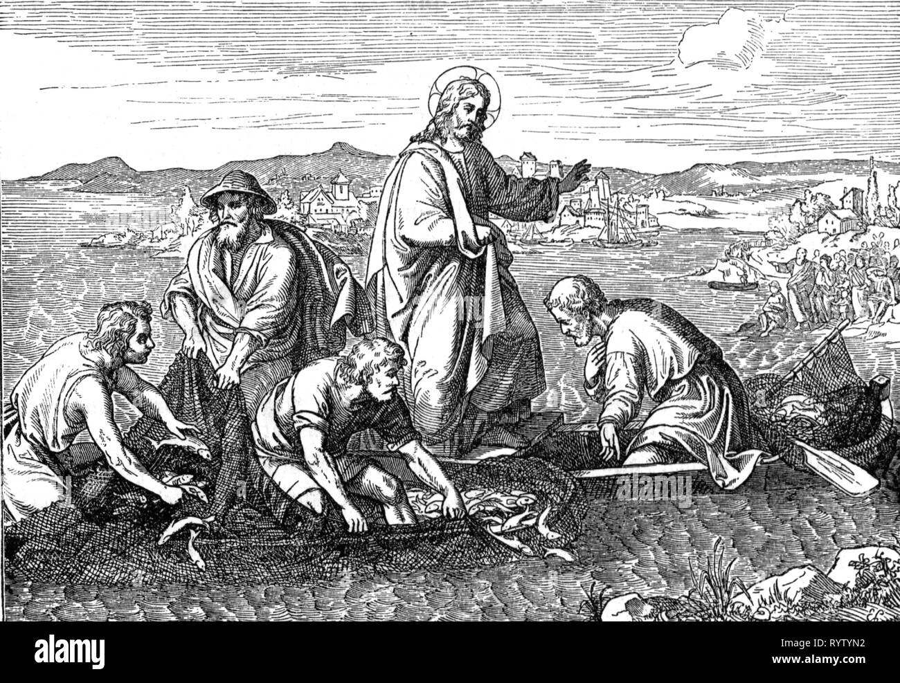 religion, Christianity, Jesus Christ, scenes of his life, the miraculous catch of fish, wood engraving, mid 19th century, graphic, graphics, New Testament, lake, lakes, Sea of Galilee, fishing boat, fishing boats, boat, boats, fisherman, fisher, fishermen, fish, standing, miracle, miracles, wonder, wonders, Peter, Messiah, Saviour, Redeemer, fishing, religion, religions, scenes, scene, life, lives, haul, hauls, historic, historical, man, men, male, people, Additional-Rights-Clearance-Info-Not-Available - Stock Image