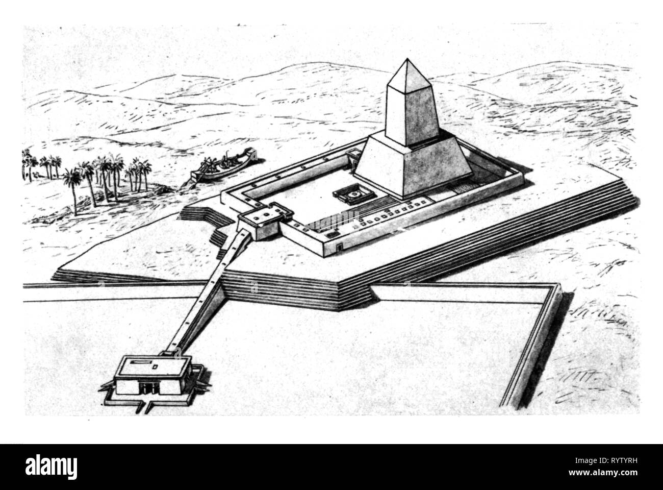 religion, sun worship, sun sanctuary of Pharaoh Nyuserre near Abusir, reconstruction, after Gaston Maspero, 1907, Additional-Rights-Clearance-Info-Not-Available - Stock Image