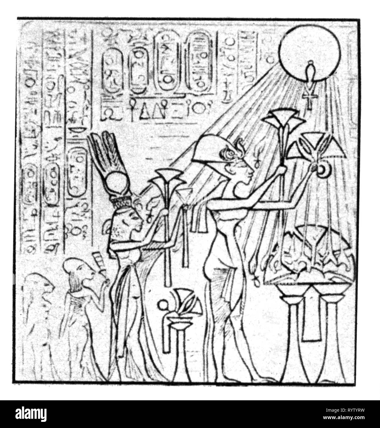religion, sun worship, Pharaoh Akhenaten with family worshipping sun god Aten, after relief from Amarna, Additional-Rights-Clearance-Info-Not-Available - Stock Image