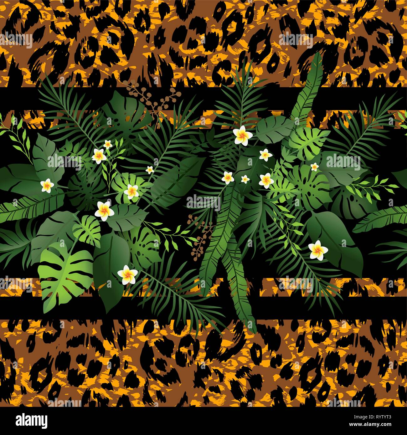 Seamless Pattern Exotic Floral Background Tropical Flowers And