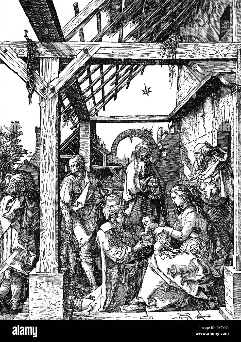 religion, Christianity, Three Kings, 'Adoration of the Magi', woodcut by Albrecht Duerer (1471 - 1528), 29.5 x 22.1 cm, first half 16th century, graphic, graphics, half-length, half length, sitting, sit, kneel, kneeling, Joseph, Mary, Madonna, Jesus Christ, the infant Jesus, baby Jesus, divine infant, child, children, kid, kids, Kaspar, Melchior, Balthazar, nativity, nativities, Messiah, Saviour, Redeemer, holding, hold, present, presents, gold, incense, frankincense, myrrh, worship, worships, religion, religions, king, kings, woodcut, woodcuts, histor, Artist's Copyright has not to be cleared - Stock Image