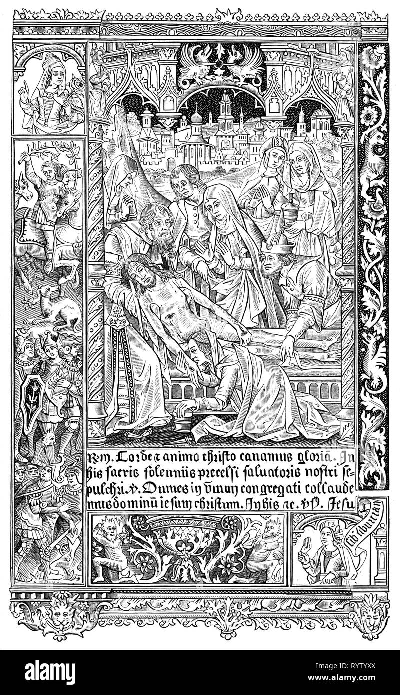 religion, Christianity, Jesus Christ, interment, interment of Christ, woodcut, from book of hours, print: Simon Vostre, Paris, 1512, Additional-Rights-Clearance-Info-Not-Available - Stock Image