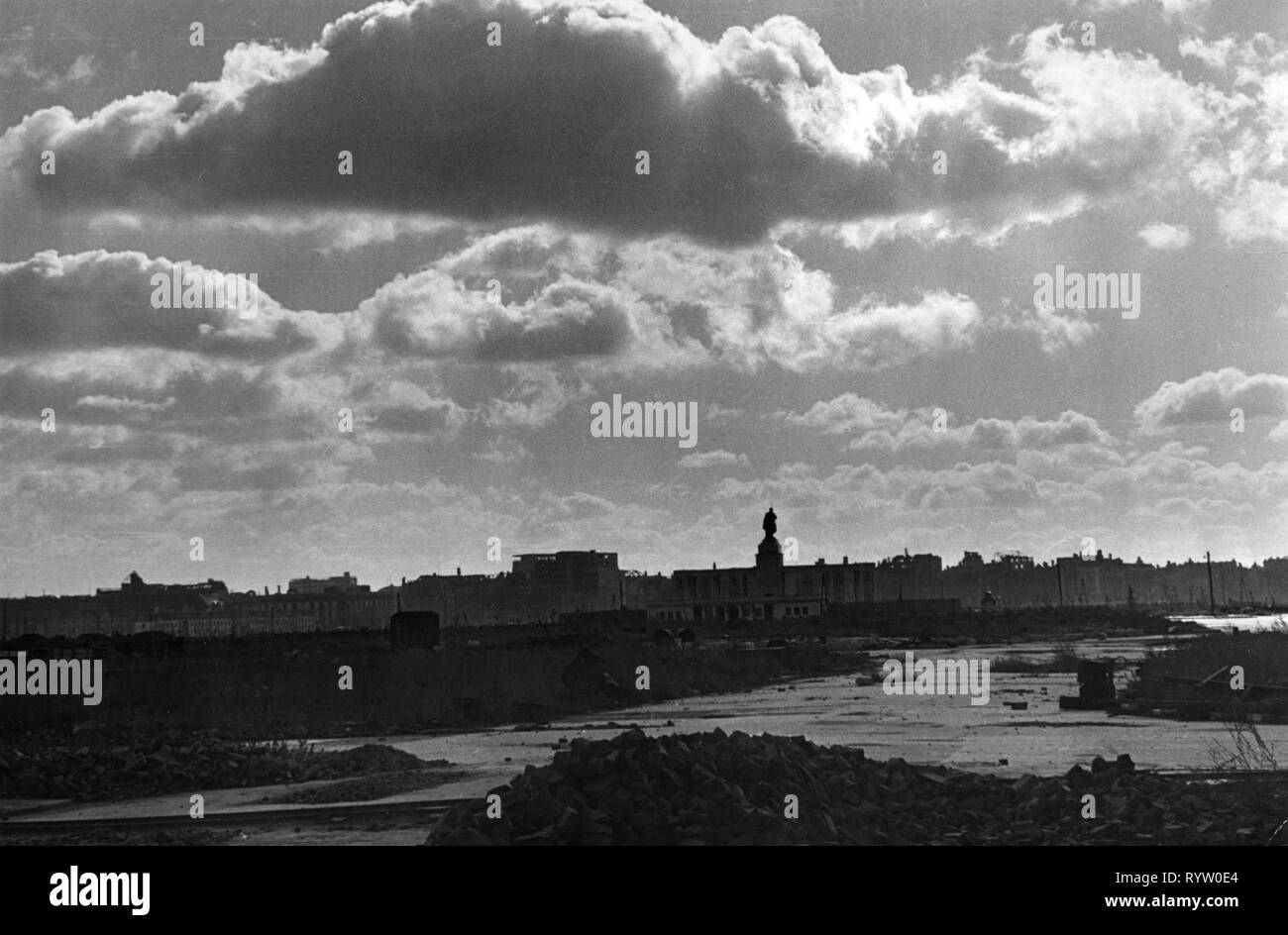 geography/travel, Germany, Berlin, postwar period, destroyed, Tiergarten, cutover, 1948, Additional-Rights-Clearance-Info-Not-Available - Stock Image