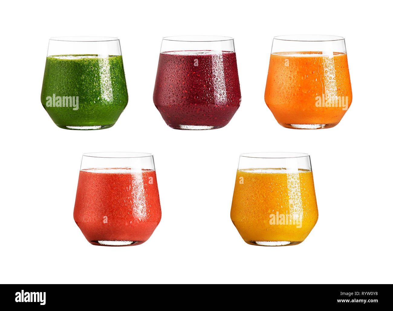 Collage of Glass fruit juice and health smoothie isolated on white. Healthy summer treats rich in vitamins. Raw, vegan, vegetarian, alkaline food conc - Stock Image