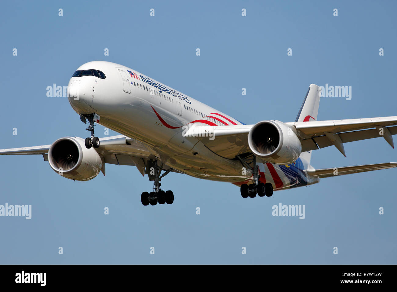 9M-MAC Malaysia Airlines Airbus A350-900 arriving at London Heathrow Airport - Stock Image