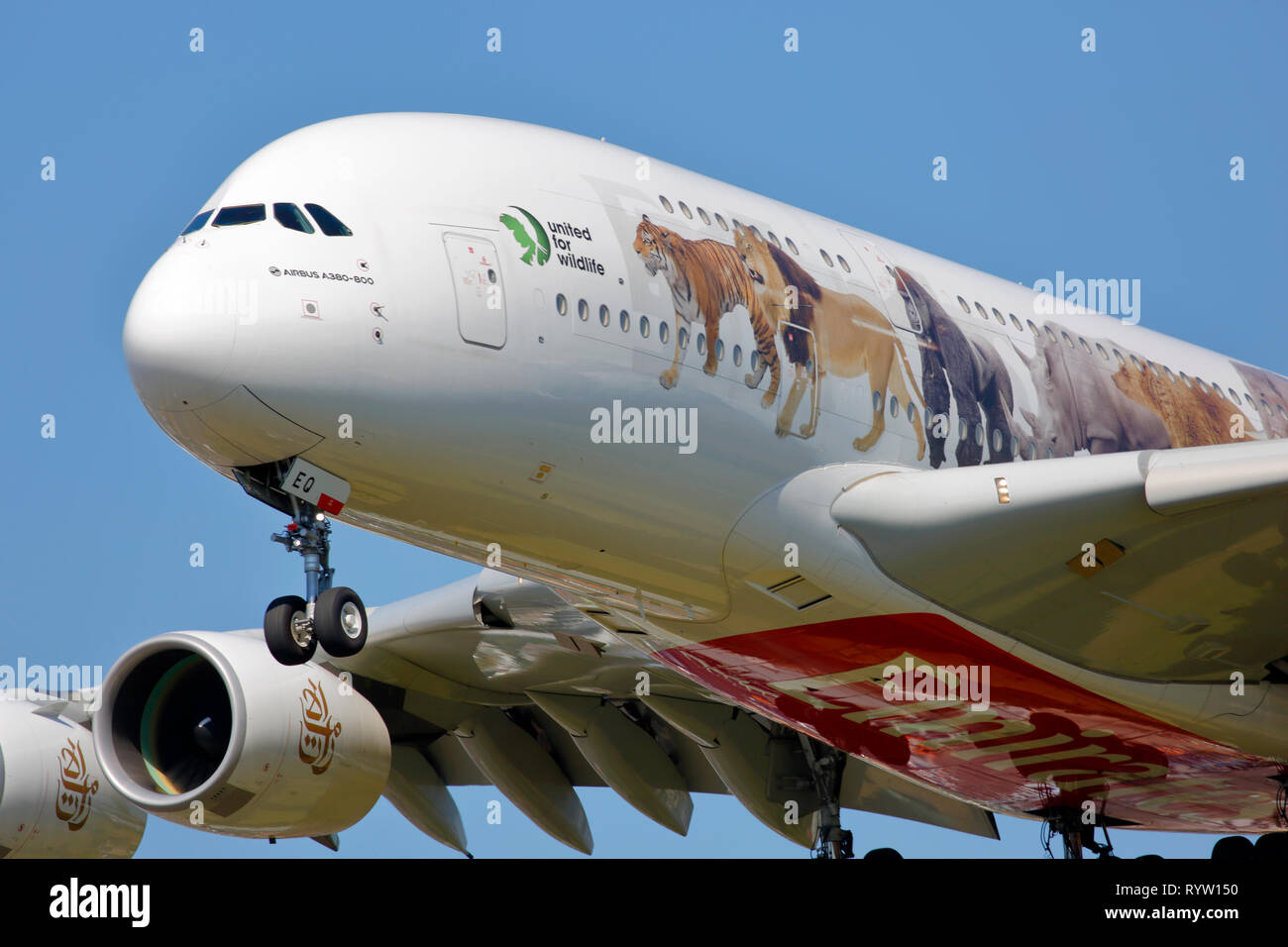 A6-EEQ Emirates Airbus A380-800 on finals for landing at London Heathrow Airport, UK - Stock Image