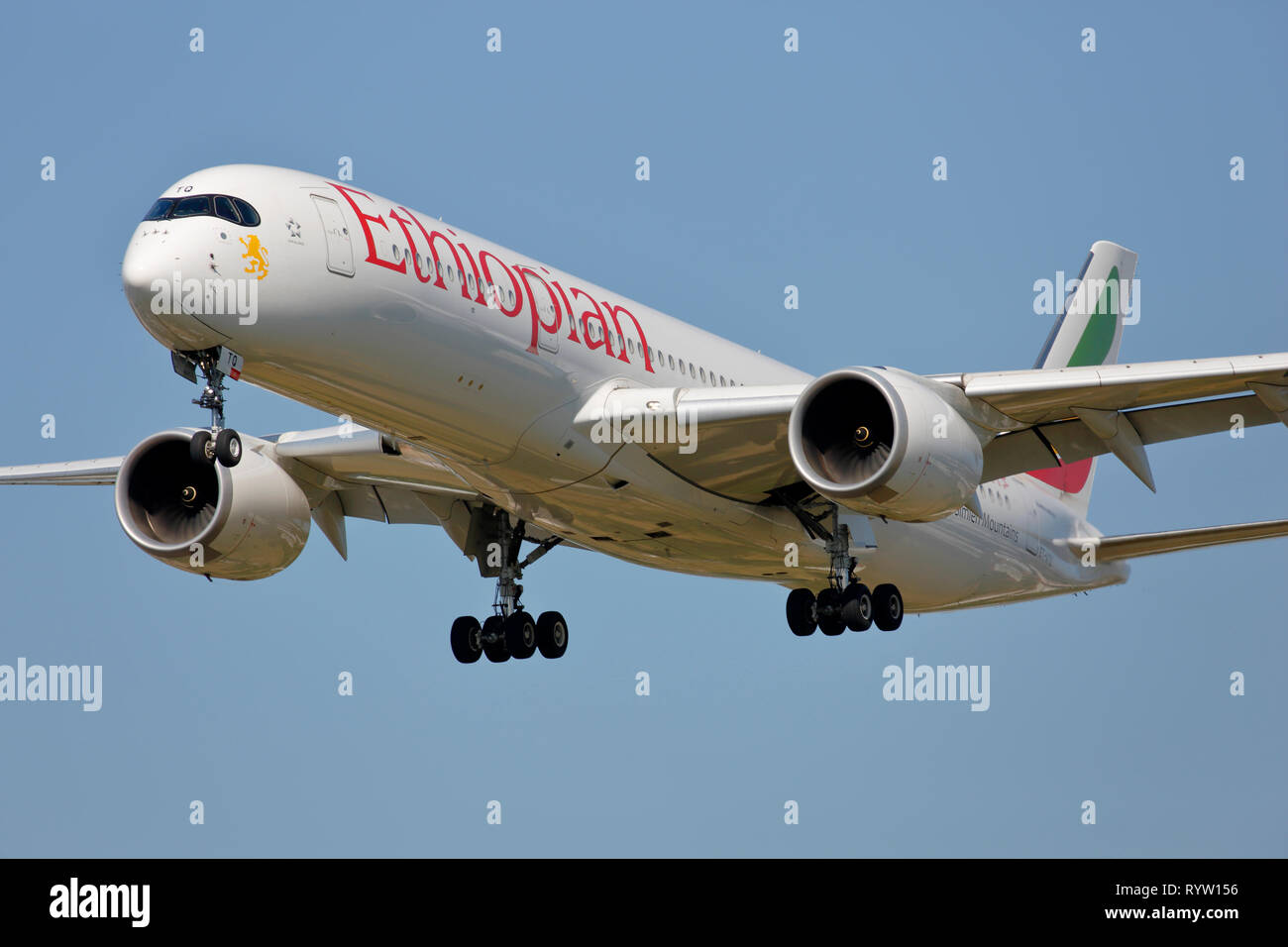 ET-ATQ Ethiopian Airlines Airbus A350-900 arriving at London Heathrow airport UK - Stock Image