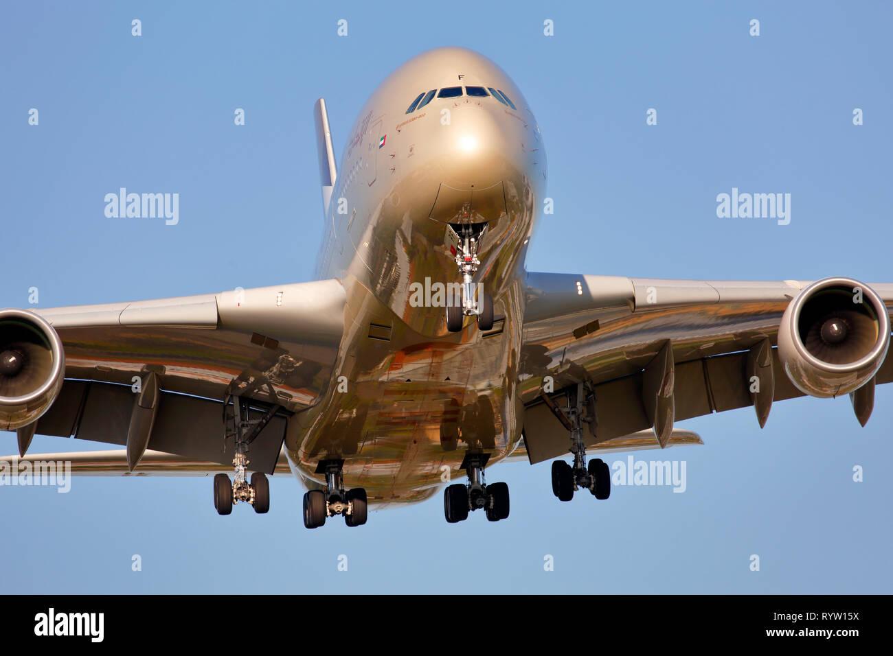 A6-APF Etihad Airways Airbus A380-800 - Stock Image