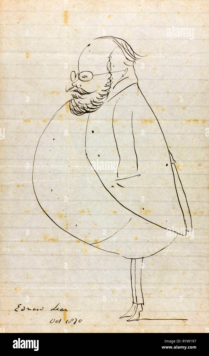 Edward Lear, self-caricature in profile, drawing, 1870 - Stock Image