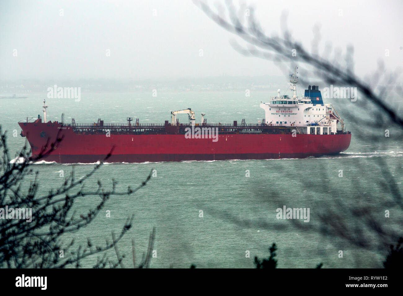 Oil,Chemical,Tanker,Perseus N, Registered, Monrovia, The Solent, Fawley,Oil,Refinery, Southampton, Cowes, Isle of Wight, Hampshire, England, UK, - Stock Image