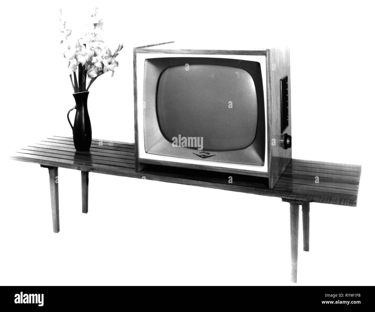 broadcast, television, television set Metz 965, Germany, circa 1960, television furniture, furniture, table, tables, flower vase, flower vases, flowers, flower, vase, vases, telecommunications, telecommunication, telecom, technics, industry, industries, consumer electronics, entertainment electronics, home electronics, home entertainment, Germany, 1950s, 20th century, 1960s, television set, TV set, TV, television sets, TV sets, TVs, historic, historical, Additional-Rights-Clearance-Info-Not-Available - Stock Image