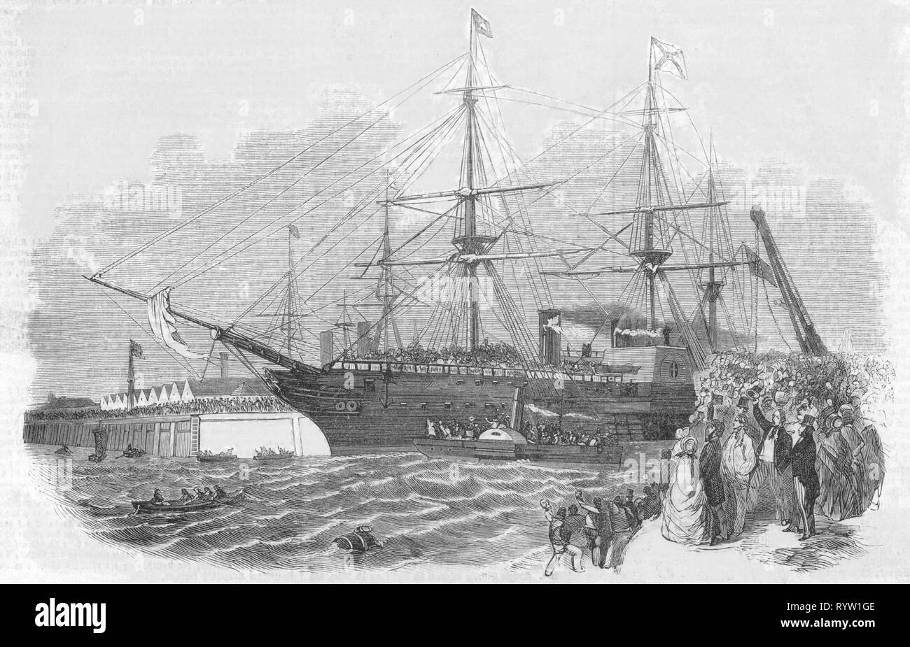 Crimean War 1853 - 1856, departure of the Coldstream Guards on the sail steamer 'Orinoco', Southampton, 1.3.1854, wood engraving, Germany, 18.3.1854, war, wars, guards, Guards Division, military, transportation, navigation, harbour, harbor, harbours, harbors, port, ports, ship, ships, steamer, steamers, steamship, steamships, troop transport, troops, people, jubilation, cheer, cheers, jubilate, jubilating, exaltation, war fever, Great Britain, United Kingdom, British empire, 19th century, departure, departures, historic, historical, Additional-Rights-Clearance-Info-Not-Available - Stock Image