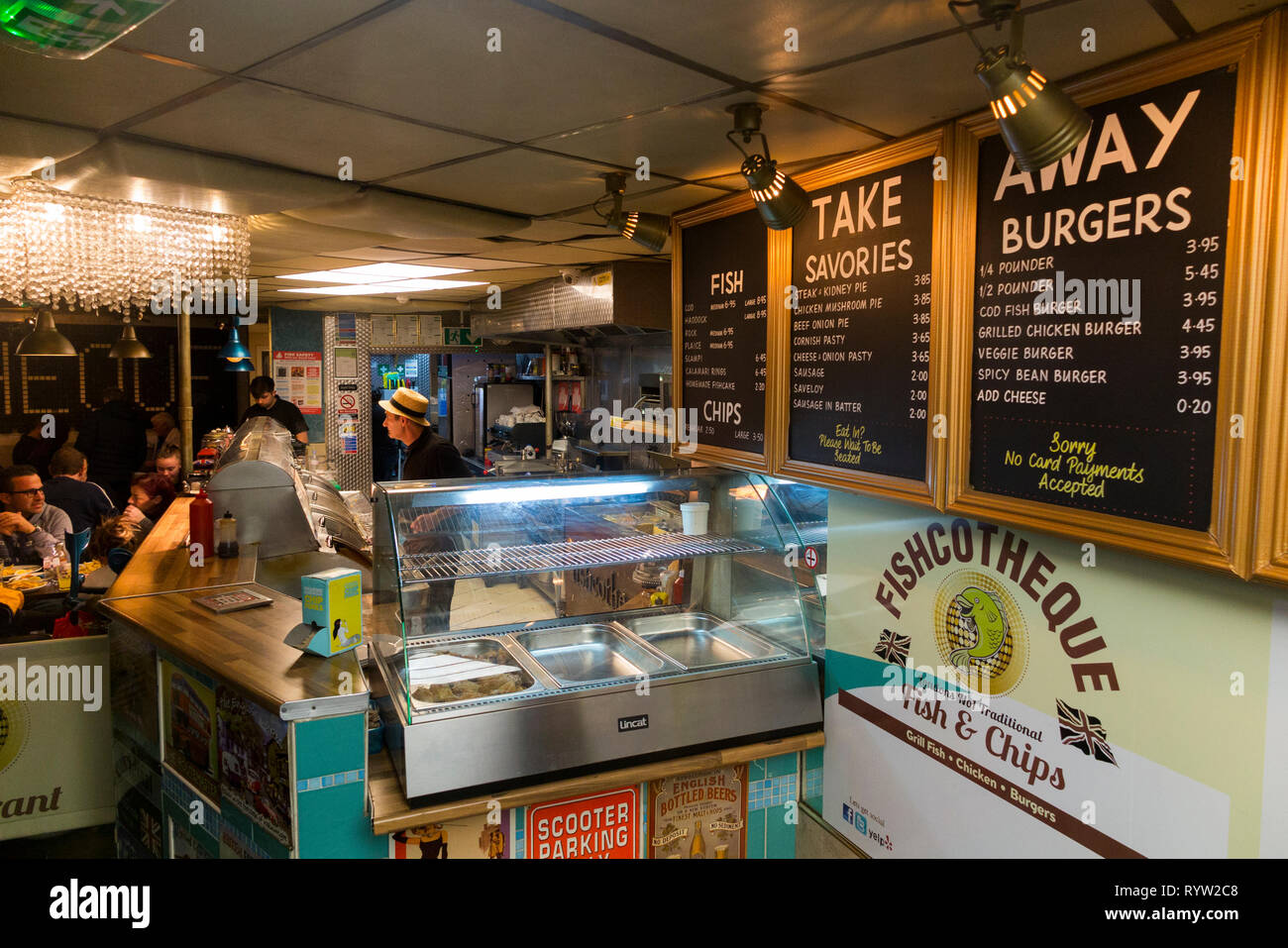 Interior / inside of Fish and chip restaurant / shop named Fishcotheque – 79A Waterloo Rd, Lambeth – near Waterloo station in London. UK (107) - Stock Image