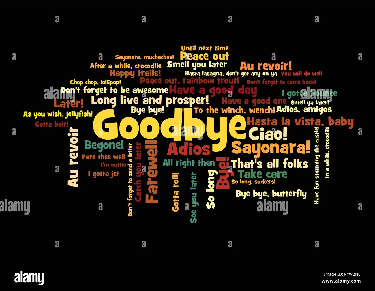 Goodbye Word Tag Cloud, shows words and phrases how to express feelings when say farewell, vector ESP10 - Stock Image
