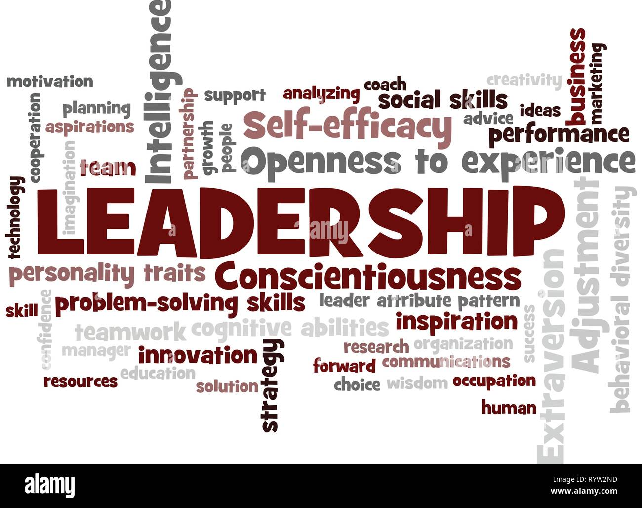leadership Word Tag Cloud, shows words related to leadership and leader attribute pattern concept, vector ESP10 - Stock Vector