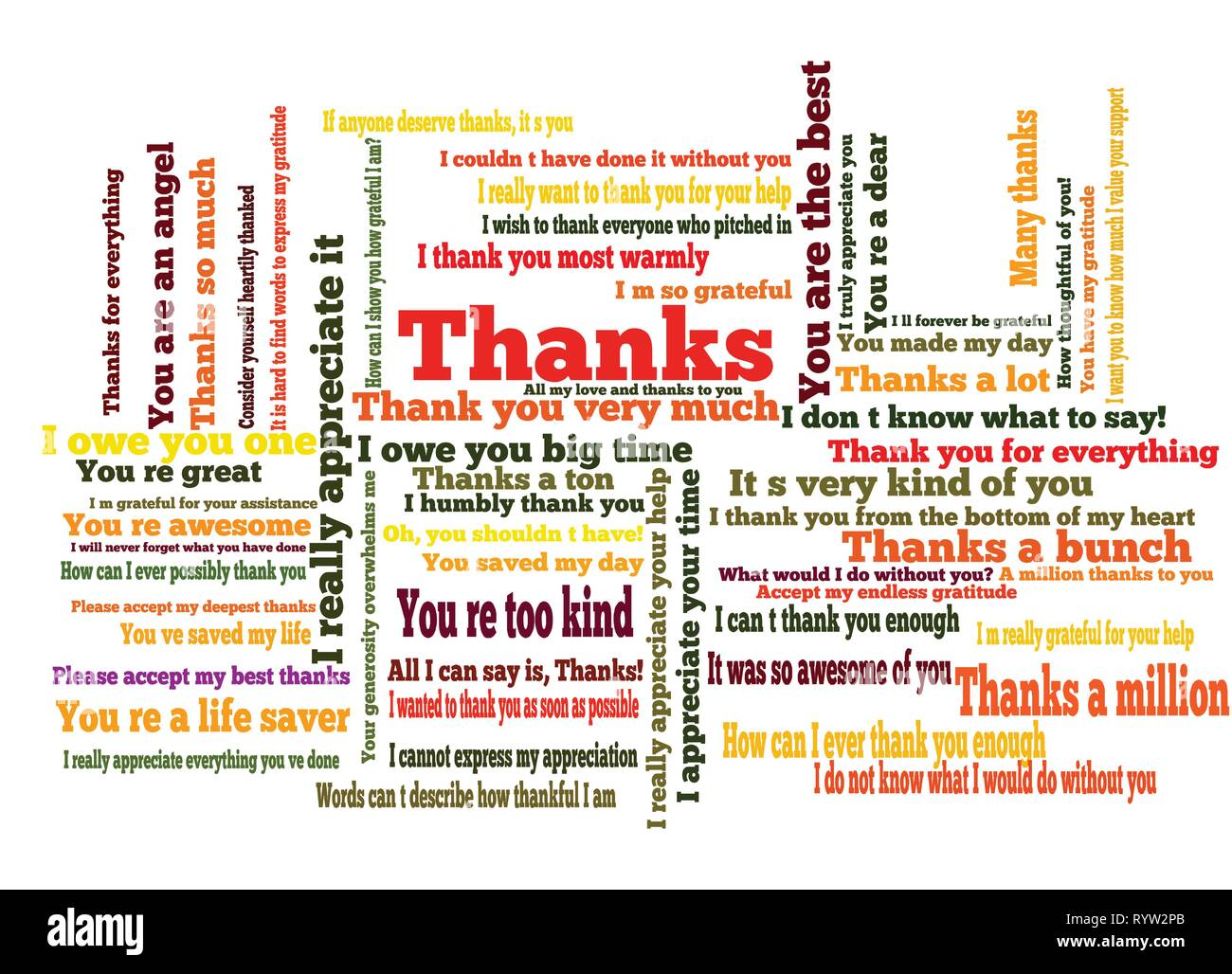 Many ways to say thank you word cloud - Stock Image