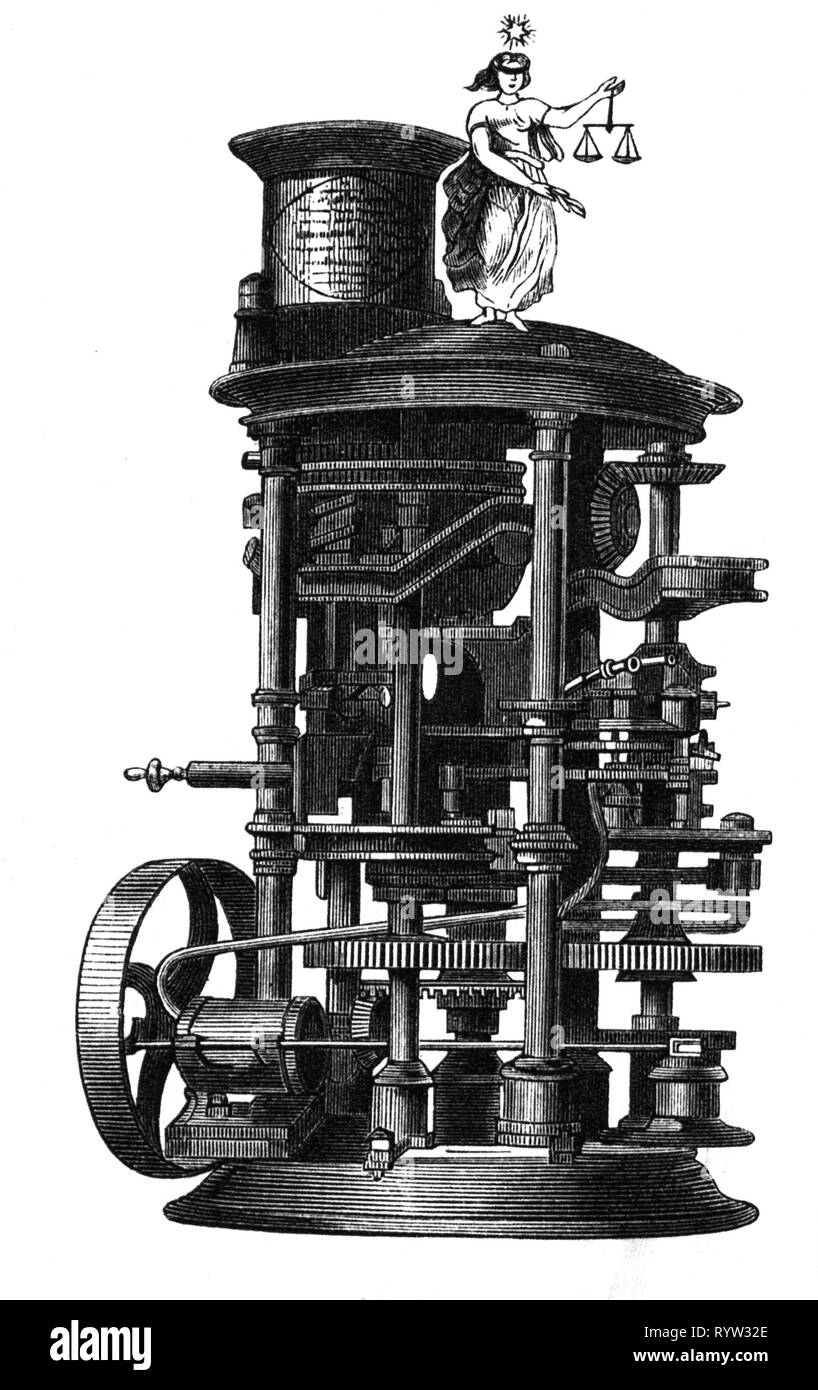 industry, tobacco industry, cigarettes, cigarette machine of the company Susini, Havana, presented at the world exposition, Paris, 1867, contemporary wood engraving, Additional-Rights-Clearance-Info-Not-Available - Stock Image