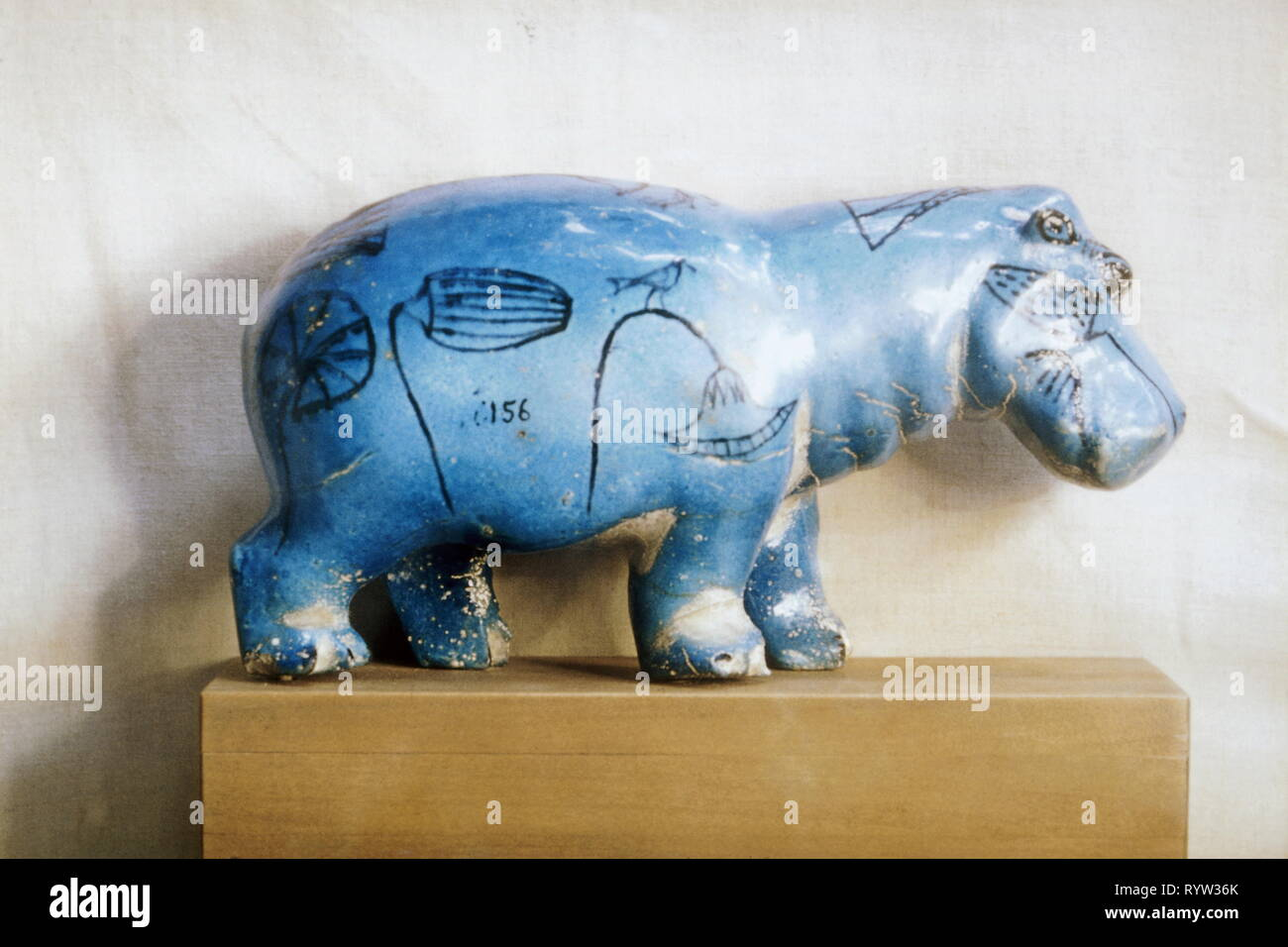 geography / travel, Egypt, animals, hippopotamus, blue faience, Thebes, 11th Dynasty, circa 2100 BC, engraved plant, Egyptian museum Cairo, Additional-Rights-Clearance-Info-Not-Available - Stock Image