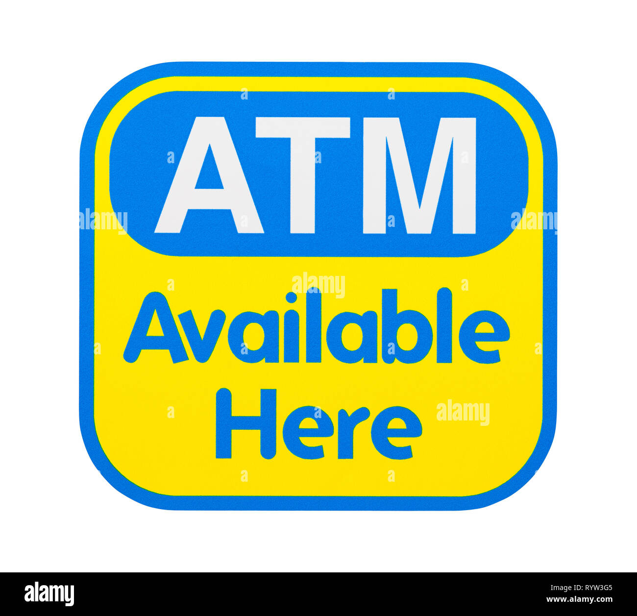 Yellow and Blue ATM Store Sticker Isolated on White. - Stock Image