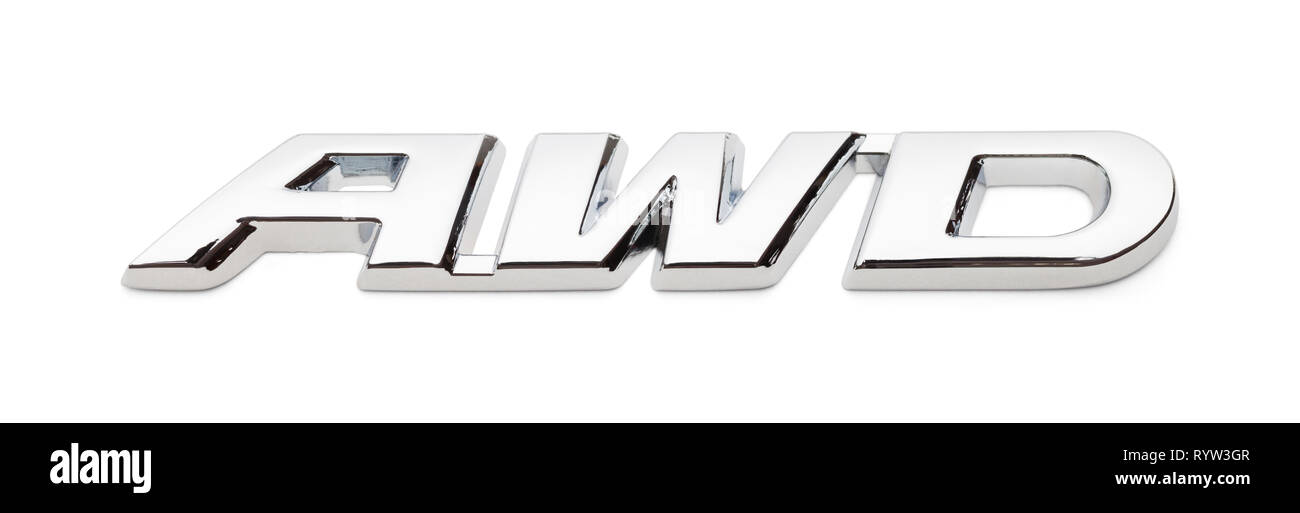All Wheel Drive Chrome Badge Isolated on White Background. - Stock Image