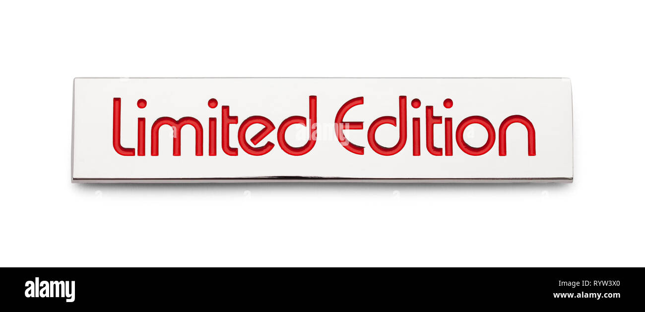 Chrome Limited Edition Car Decal Badge Isolated on White. - Stock Image