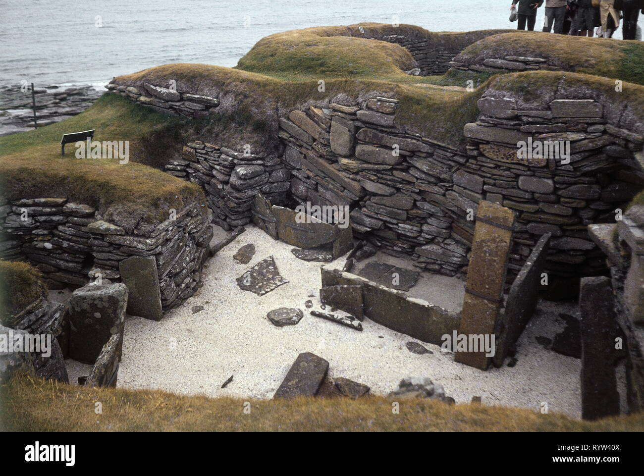 prehistory, architecture, Stone Age, Stone Age houses near Aberdeen, Scotland, Great Britain, 1984, Additional-Rights-Clearance-Info-Not-Available - Stock Image